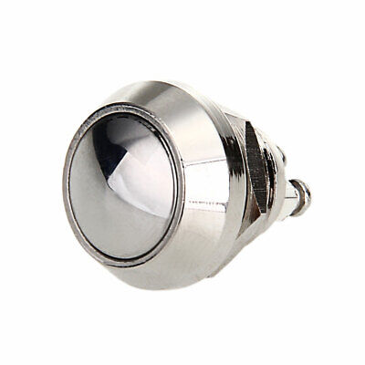 """Chrome Metal On/Off Push Button Switch 1/2"""" Diameter Switch Momentary/Reset"""
