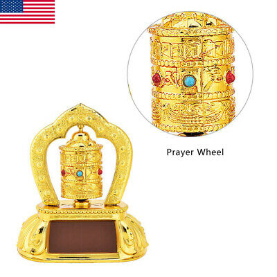 Tibetan Tibet Buddhist Solar Energy Spinning Prayer Wheel ABS For Car Vehicel US