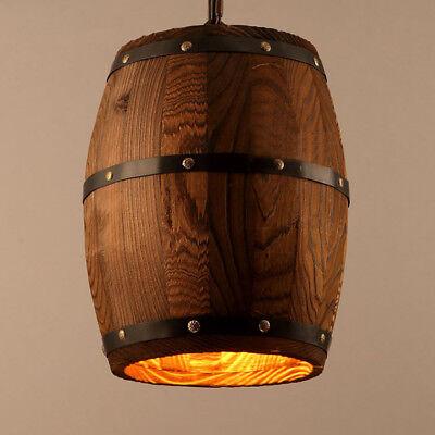- Wine Wood Barrel Hanging Fixture Pendants Ceiling Lamp Light Bar Cafe E27 US HOT