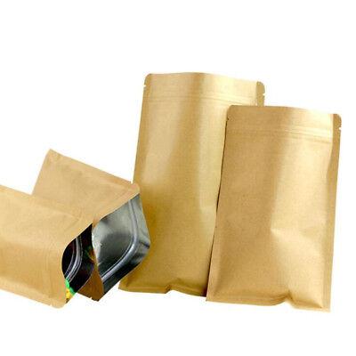 Brown Kraft Paper Bags Aluminum Foil Resealable Zip Lock Packaging Food Pouches