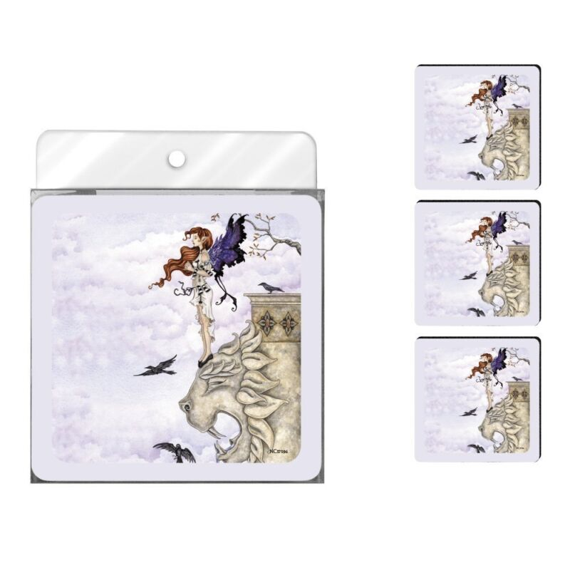 Amy Brown Neoprene Foam Printed Coasters, Waiting Fairy Gargoyle New Set of 4