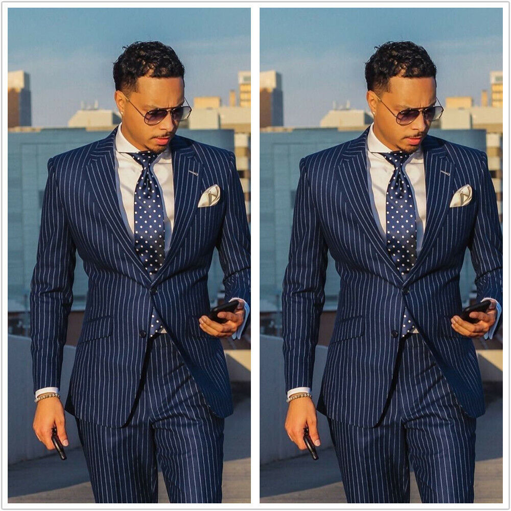 Men/'s Navy Blue Double Breasted 3 Piece Stripe Suits Tuxedos Groom Wedding Suit