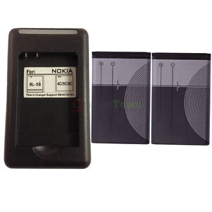 2x BL-5C Battery + Wall Charger for Nokia 1100 3100 3120 6030 6230 6600 6680 N70