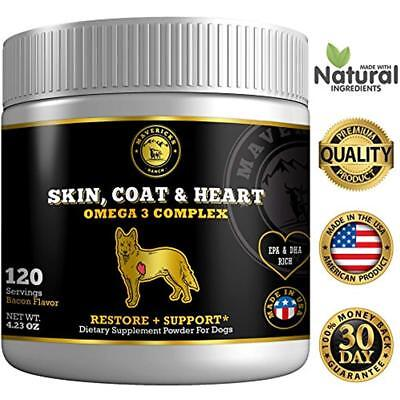 Omega 3 For Dogs Canine Fish Oil Supplement Fur Loss, Dry Itchy Skin & Heart