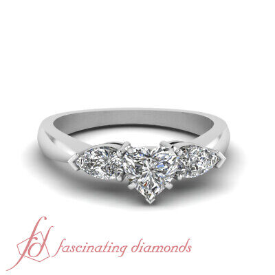 1 Ct Heart Shaped Diamond Double Drop Engagement Ring 14K Gold SI1-D Color