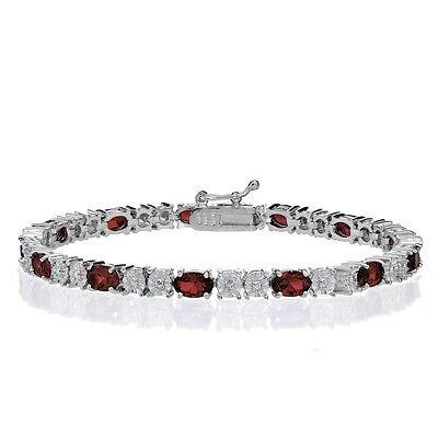 Sterling Silver African Garnet and Diamond Accent Oval Tennis Bracelet Diamond Accent Garnet Bracelet
