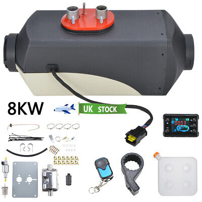 UK 12V 8KW Diesel Air Heater Tank Vent Duct LCD Thermostat Silencer Motorhome