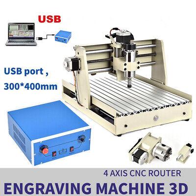 4 Axis Cnc 3040 Router Desktop Usb Engraver Engraving Woodworking 3d Cutter 400w