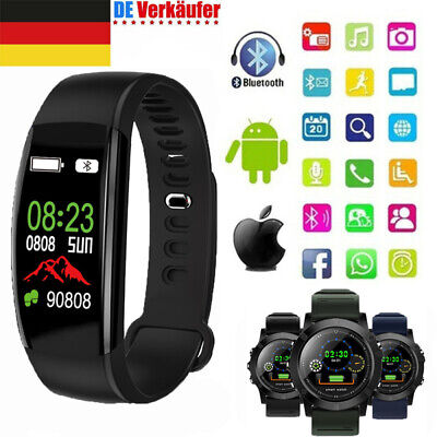 Wasserdicht Smartwatch Fitness Tracker Bluetooth Armband Sport Uhr Android iOS (Android Fitness-tracker Uhr)