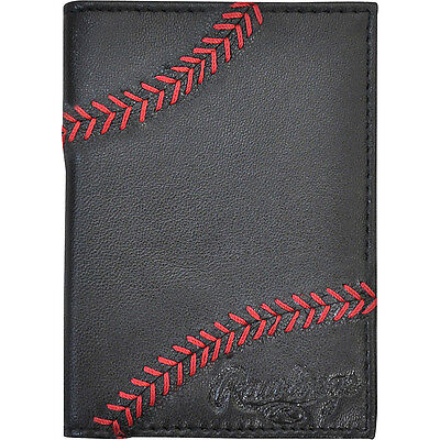 Rawlings Baseball Stitch Front Pocket - Black Men's Wallet NEW