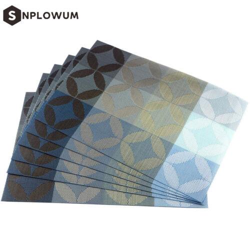 Exquisite PVC Mats Woven Vinyl For Table 6pcs Placemats Blue