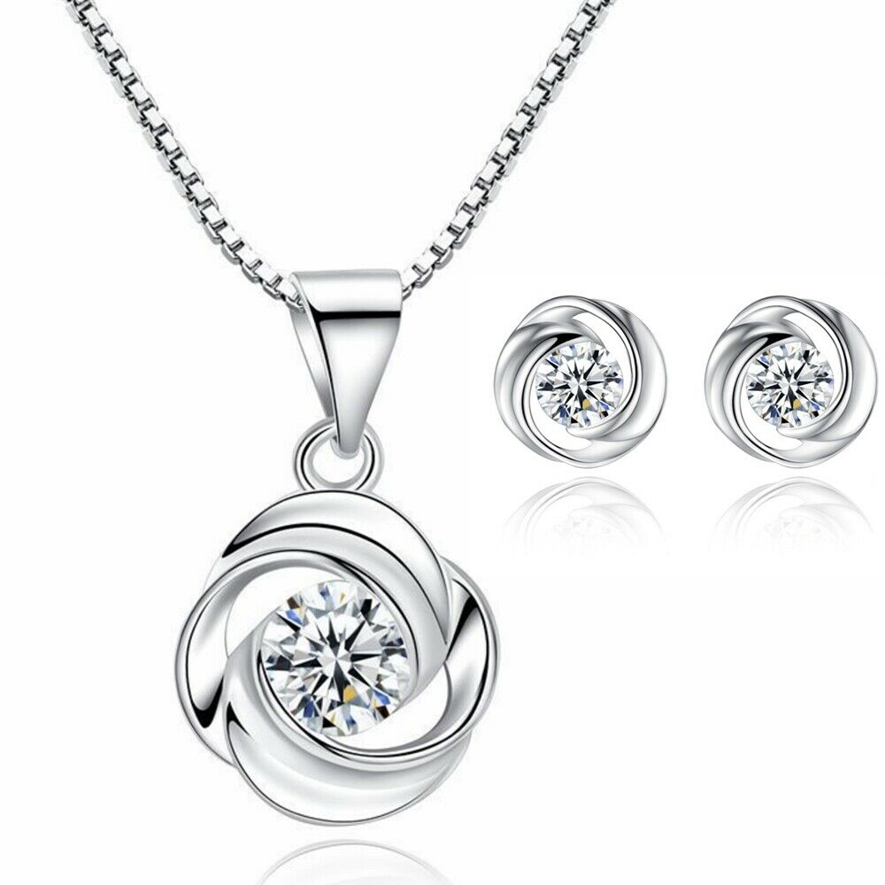Jewellery - 925 Sterling Silver Swirl Stone Pendant Necklace Stud Earrings Womens Jewellery