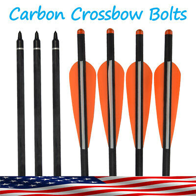 Crossbow Bolt Carbon Arrows for Archery Target Hunting Outdoor Half Moon Nock US