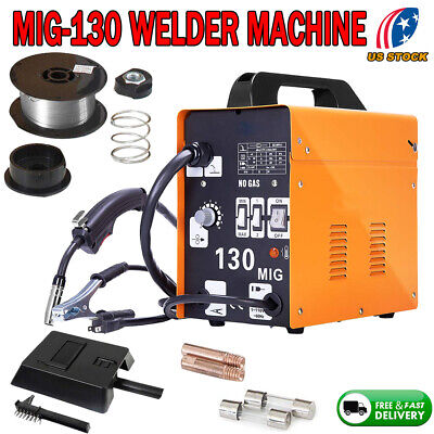 Mig 130 Welder Gas Less Flux Core Wire Automatic Feed Welding Machine W Mas