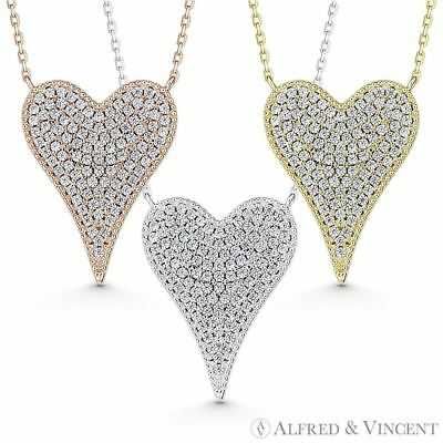 Large Heart CZ Crystal Pave Love Charm Pendant & Necklace in 925 Sterling Silver Charm Pendant Love Jewelry