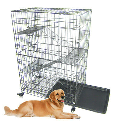 Large Folding Collapsible Pet Dog Wire Cage Cat Playpen with 3 Ladders L Silver