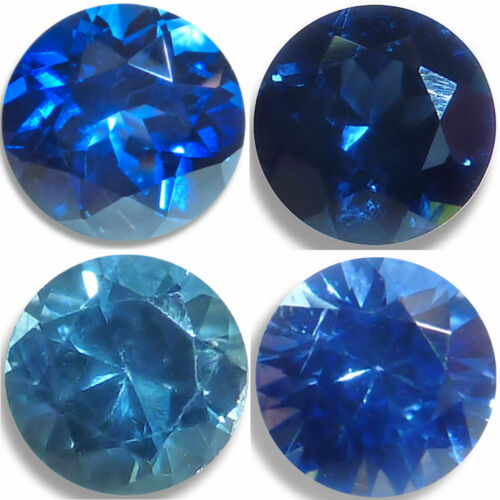 Natural Sapphire Blue Round Brilliant Faceted Loose Gemstones Fine Cut AA+