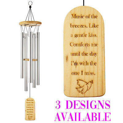 Engraved Wind Chimes - Engraved Bamboo Wood Memorial Wind Chimes Outdoor Bereavement Gift Home Decor j