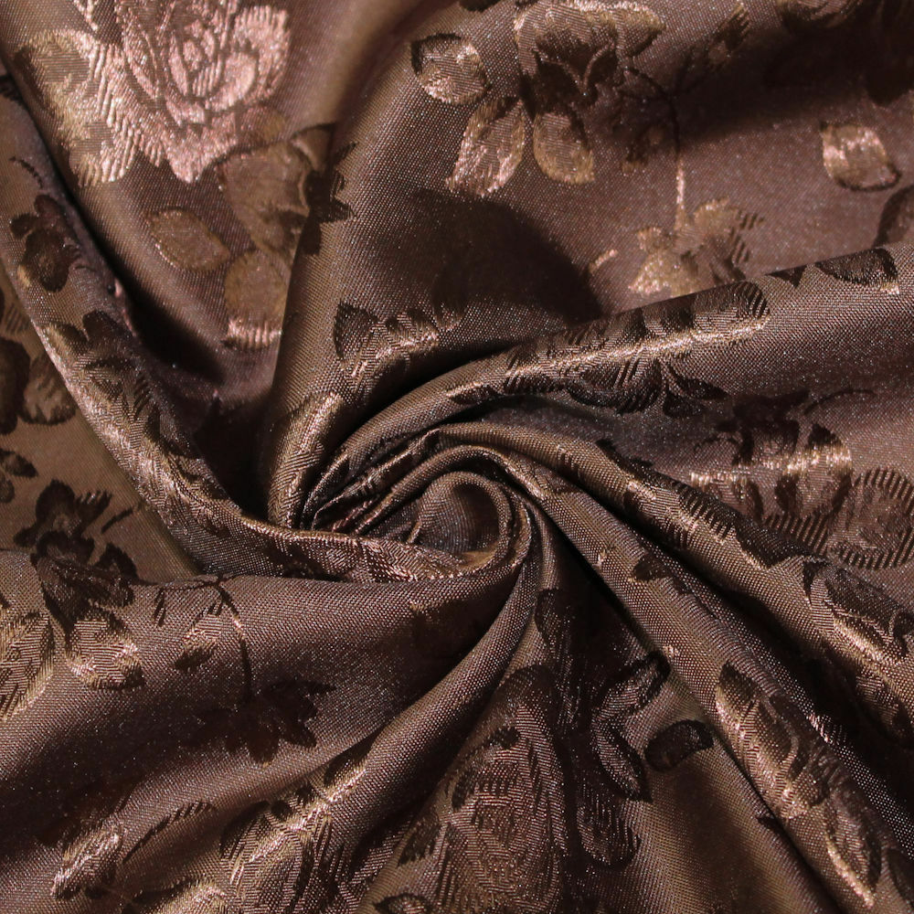 34 Colors Kayla Floral Jacquard Brocade Satin Fabric by the Yard - 10004 Brown
