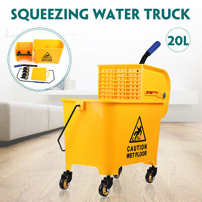 5 Gallon Mop Bucket w/Wringer Combo Commercial Rolling Cleaning Cart Trolley Commercial Mop Bucket
