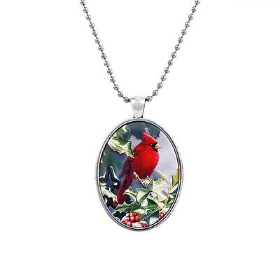 "Red Cardinal Bird Charm Pendant Fashionable Glass Necklace - 23"" Chain"