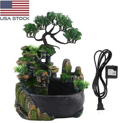 Waterfall Rockery Desktop Fountain Humidifier Fog Home Office Decor Ornament