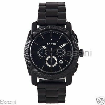 Fossil Original FS4552 Men's Machine Black Stainless Steel Watch 45mm