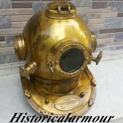 Deep Sea Desk Decor Diving Divers Helmet Solid Iron Brass U.S Navy Mark V 18""