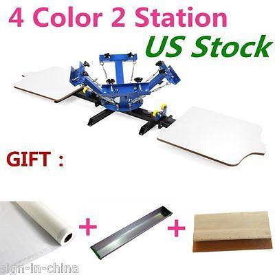 4 Color 2 Station Silk Screen Printing Machine 4-2 Diy T-shirt Press Printing Us