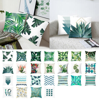 Soft Tropical Plant Green Leaves Pillow Case Cushion Cover Car Home Sofa Decor ()