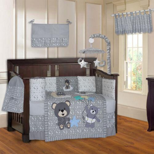 BabyFad Teddy Bear Grey 10 Piece Baby Crib Bedding set