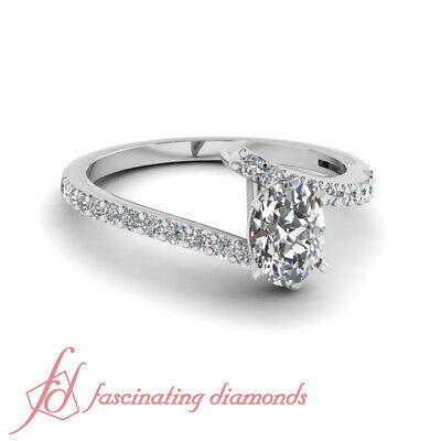 .75 Ct Oval Shaped F-Color Diamond Engagement Rings For Women White Gold 14K GIA