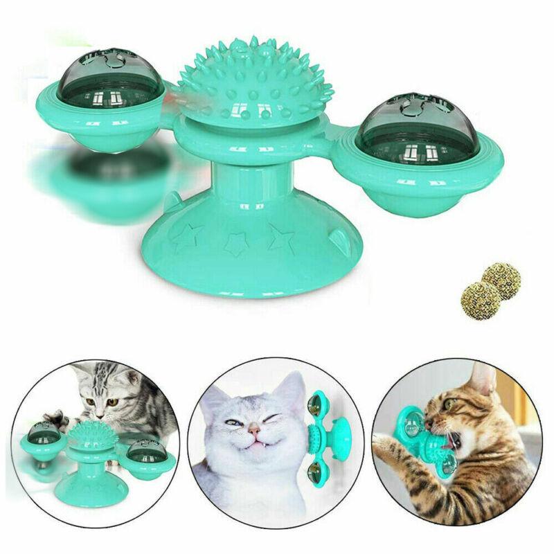 Windmill Cat Toys Fidget Spinner for Kitten with Catnip Ball Blue Turntable