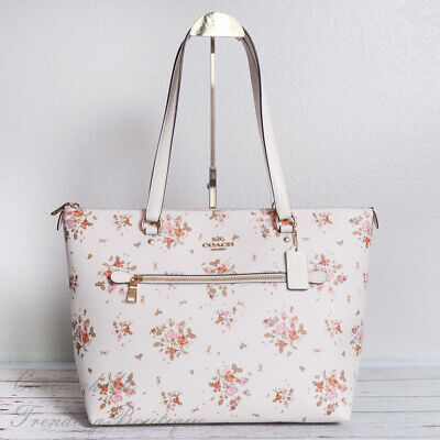 NWT Coach 91023 Gallery Tote with Rose Bouquet Print in Chalk Multi