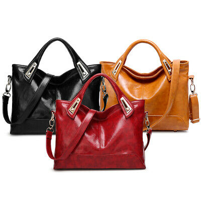 Women Ladies Oiled Handbag PU Leather Tote Purse Messenger Hobo Shoulder Bag