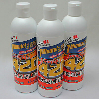 Formula 420 Pipe Cleaner - Pyrex Metal Glass Ceramic - 12 oz - 1 minute (3 Pack)