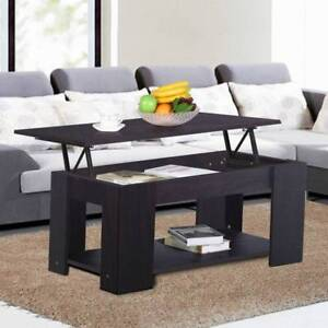 Espresso Lift Up Top Coffee Table with Storage Brand New