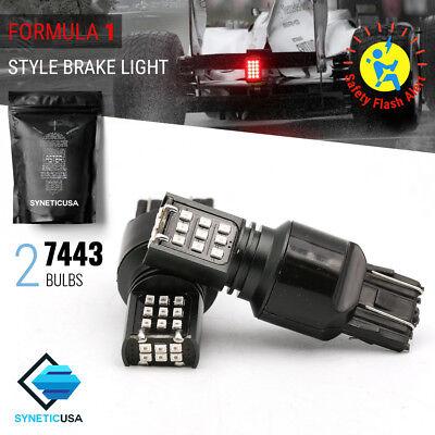 7443 24-LED Strobe Flashing Blinking Brake Tail Light Safety Warning Light Bulbs