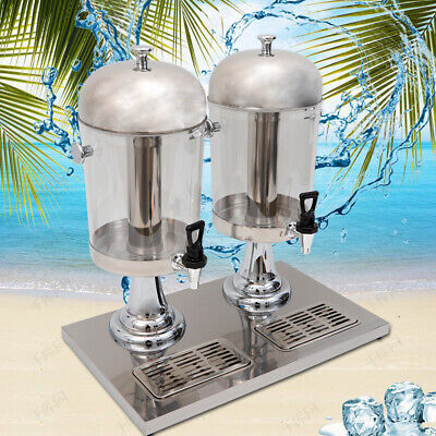 Double Juice Drink Dispenser Beverage Cold Drink Cooler Machine 8lx2 Drip Tray