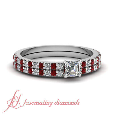 1 Carat Asscher Cut Diamond Engagement Rings And Band For Wo
