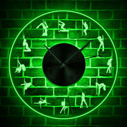 Pole Dancing LED Lighting Silent Wall Clock Girl Dancer LED Neon Sign Mute Watch