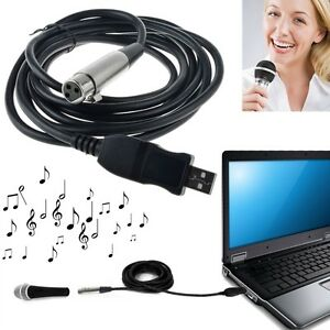 XLR Female to USB Male 3m 9ft. Black Cable Cord Adapter Microphone Link OY