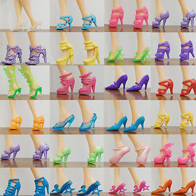 80pcs 40 Pairs Different High Heel Shoes Boots For Barbie Doll Dresses Clothes