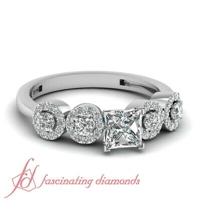Pave Set 0.90 Ct Princess Very Good Cut Diamond Engagement Ring 14K FLAWLESS GIA
