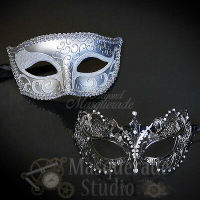 Couples Silver Charming and Extravagant Costume Party Masquerade Masks Set