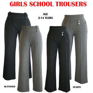 Girls-Trousers-Grey-Black-Elasticated-School-Trousers-Age-2-13-Years