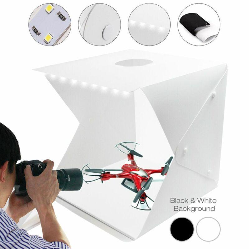 """16"""" Dual LED Light Photo Studio Photography Tent Kit Backdrop Cube Folding Box"""