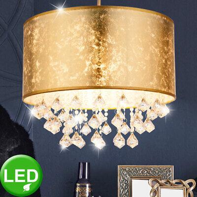 LED Cristal Péndulo Lámpara Oro Ess Habitación Iluminación Tela Techo Colgante
