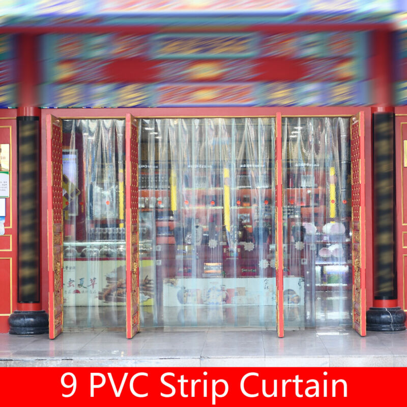 9 PCS PVC Strip Curtain Strip Doors for Supermarkets Factories Pedestrian Walk