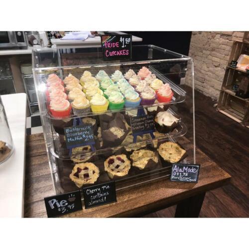 NEW 3 Tray Bakery Display Case with Rear Doors - 21 x 17 3/4 x 16 1/2